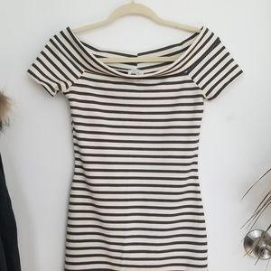 ZARA Boat Neck Striped Dress